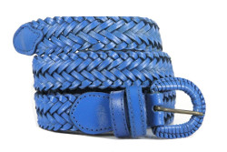 Ceinture en cuir tressé bleu marine