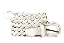 ceinture en cuir tressé blanc