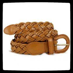 ceinture en cuir tressée jaune