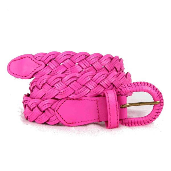 ceinture en cuir tressé rose