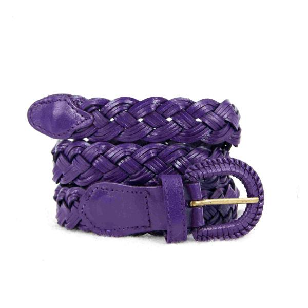 ceinture en cuir tressé violette