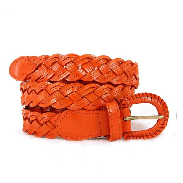 ceinture en cuir tressée orange