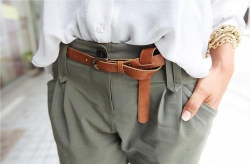 ceinture cuir souple nouee
